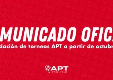 Reanudación de torneos APT a partir de octubre